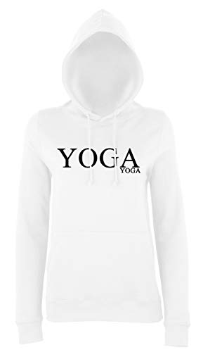 YogaYoga Ladies Girlie College Hoodie Great to Use for Any Sport for Any Athlete - Fashion Dance,Yoga,Zumba,Pilates,Great Birthday Present… (Pink/White, X-Small)