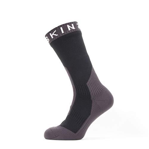 SEALSKINZ Trekking Thick Mid Socks, Small, Black/Anthracite