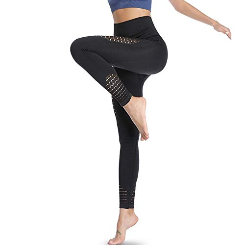 Eono by Amazon - Women's Seamless Gym Leggings High Waist Yoga Pants Running Trousers Sports Workout Tights Small - Black