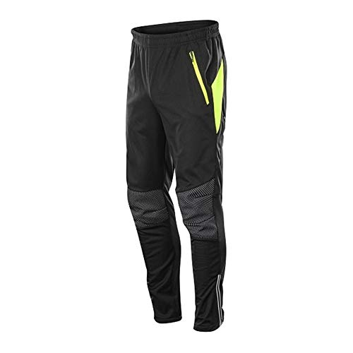 WBNCUAP Waterproof Winter Thermal Fleece Cycling Pants Men Cycle Mtb Bike Clothing Bicycle Trousers Running Fitness Compression Tights (Color : Green, Size : 4XL)