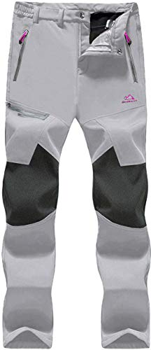 TACVASEN Waterproof Ski Pants Womens Thermal Outdoor Walking Trousers Ladies Warm Fleeced Line Cargo Cycling Pants Light Grey