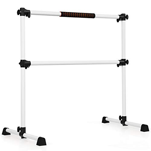 COSTWAY Portable Double Ballet Barre, 123 x 120cm, Adjustable Height, Gymnastics Bar with 360 Degree Rotatable Non-slip Feet | Freestanding Stretch Bar for Dance, Exercise