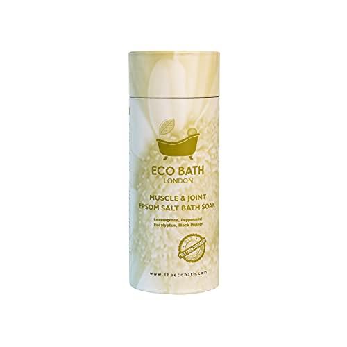 Eco Bath London Muscle & Joint Pain Epsom Salt Bath Soak, Magnesium Sulphate Blended with essential oils, 1 KG, lemongrass, peppermint, eucalyptus and black pepper, 1000 gram