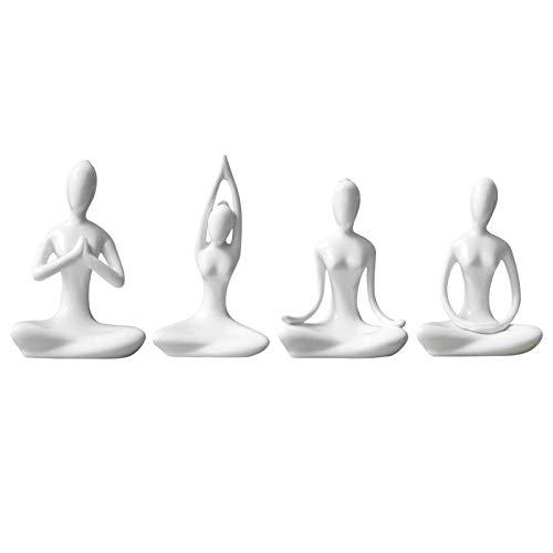 MAYOKIAAR Set of 4 Meditation Yoga Pose Statue, White Home Decorative Ceramic Yoga for Yoga Lovers Women Yogi Freak