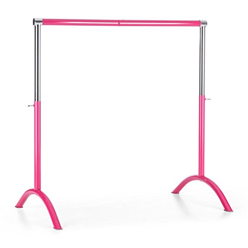Klarfit Bar Lerina Ballet Bar - Mobile Ballet Bar, Freestanding Ballet Bar, Ballet Bar: 38mm Diameter, Height Adjustable Construction, Material: Steel, Colour: Steel Black, Dimensions: 110 x 113 cm