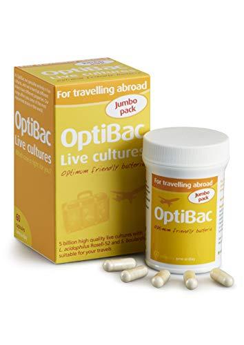 Optibac For Travelling Abroad | 5 Billion Friendly Bacteria Natural Travel Supplement | Saccharomyces Boulardii, Lactobacillus & Bifidobacterium Multi Strain Formula | Shelf Stable | 60 Capsules