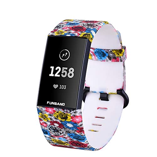 FunBand Compatible with Fitbit Charge 3/Charge 4 Strap Bands,Unique Elegant Floral Pattern Printed Soft Silicone Sport Adjustable Replacement Bracelet for Charge 3/Charge 4 Fitness Activity Wristband