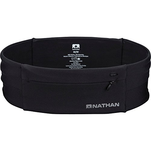 Nathan 7702 The Zipster Running Waist Belt for Training, Fitness, Cycling, and Travel — Holds Smartphones, Headphones, Nutrition Gels, ID, Keys and More