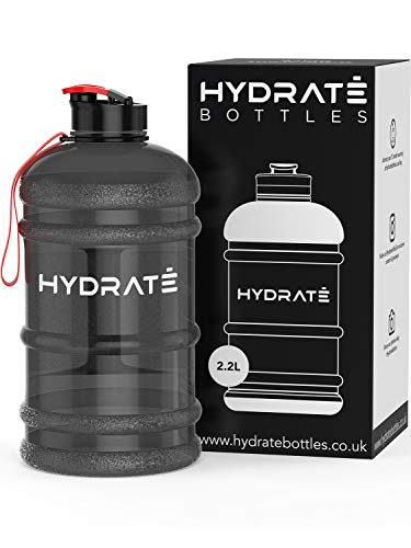 HYDRATE XL Jug 2.2 Litre Water Bottle - BPA Free, Flip Cap, Ideal for Gym - Colour Options (2.2 Litre, Black)