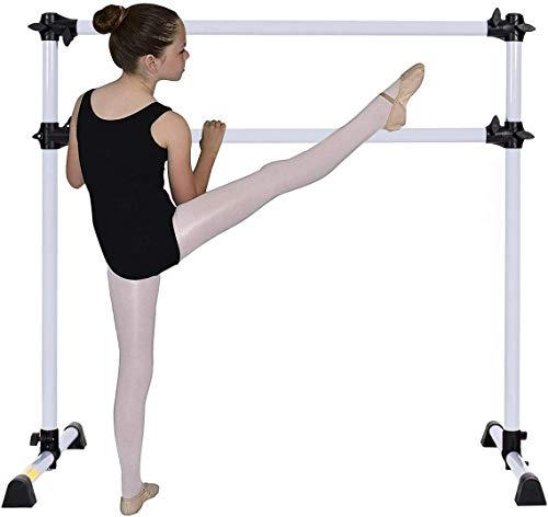 GYMAX Double Ballet Barre with Non-slip Stand, Adjustable Stretching Bars, Freestanding Portable Barre for Home Dancing Fitness (Silver)