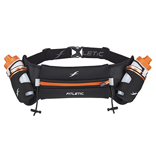 Fitletic HD08 Unisex Adult Hydration Belts, Black/Orange, L-XL (Pack of 2)