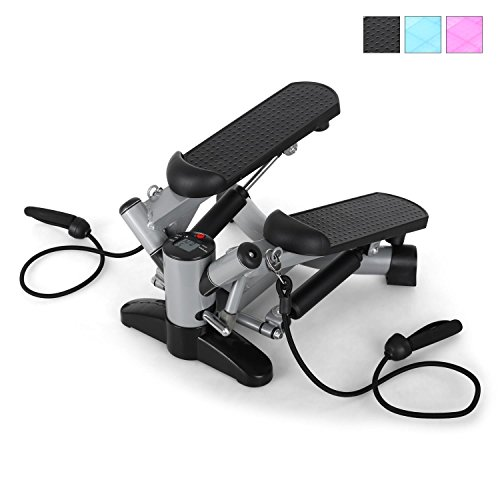 Klarfit Powersteps Twist Stepper with Computer Bands with 2 Elasticated Bands - up to 100 kg, Argent - Blanc/Argent