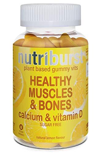 NUTRIBURST | Vegan Calcium and Vitamin D for Healthy Muscles & Bone | Chewable Sugar Free Gummy Vitamins | 60 Gummies 1 Month Supply | Suitable for Vegetarians & Vegans
