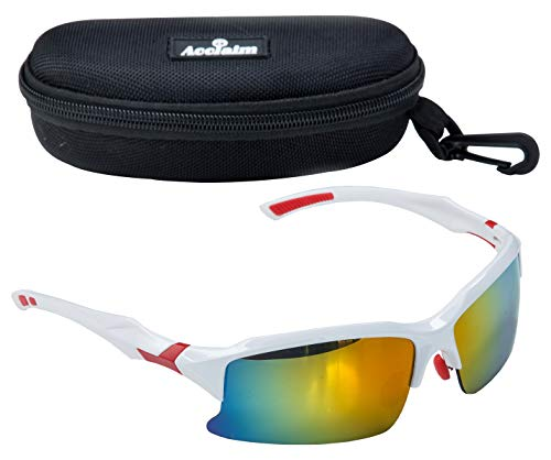 Acclaim Titan Cricket Sports Glasses Sunglasses Semi Rimless Lenses With 100% UVA UVB Protection Tinted Lenses In A Zipped Hard Case And Cleaning Cloth (White/Red Rainbow Lens)