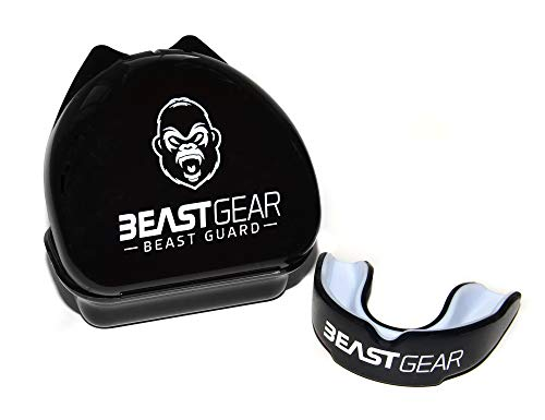 Beast Gear Mouth Guard/Gum Shield for boxing, MMA, rugby, muay thai, hockey, judo, karate martial arts and all contact sports (Black, Adult (11+))