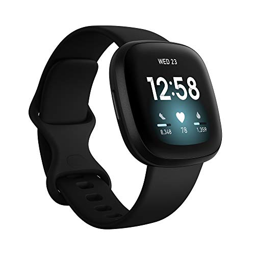Fitbit Versa 3 Health & Fitness Smartwatch with GPS, 24/7 Heart Rate, Voice Assistant & up to 6+ Days Battery, Black/Black