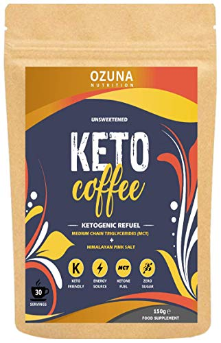 Keto Coffee | Instant Bulletproof Ketogenic Refuel Coffee with MCT Oil | Zero Carb, Sugar Free, Low Calorie Ketosis Diet Drink | Unsweetened - 30 Servings