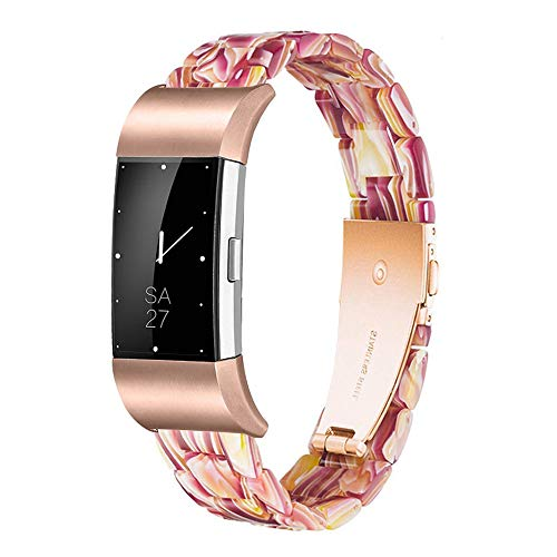 Ayeger Resin Band Compatible with Fitbit Charge 2/2 HR,Women Men Resin Accessory Rose Gold Buckle Band Wristband Strap Blacelet for Fitbit Charge 2/2 HR Smart Watch Fitness(Red)