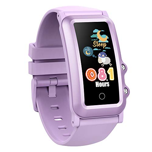 Aupalla Kids Health Watch Sleep Monitor Sport Activity Tracker Fitness Tracker for Auto-Heart Rate Monitoring, Multi-Sports Modes,Steps Calories Counting Distance 20 Groups Alarm and Stopwatch(Lilac)