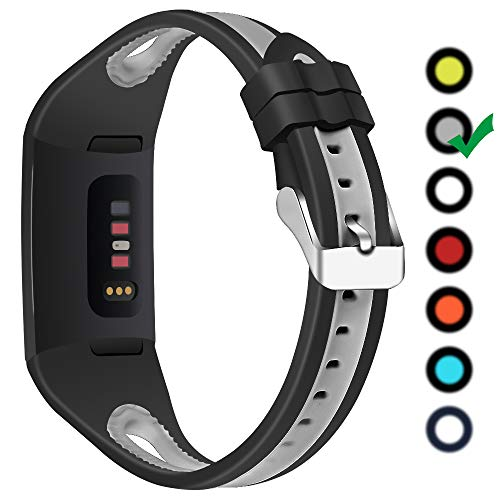OULUCCI Compatible with Fitbit Charge 3/Charge 3 Special Edition Sport Strap, Silicone Sport Wristband for the Charge 3 - Available in 7 Colours (Black&Gray)