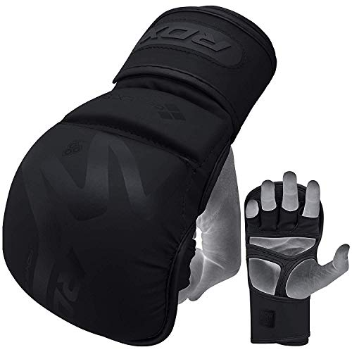 RDX MMA Gloves for Martial Arts Training and Sparring, Open Palm Maya Hide ConvEX Skin Leather Mitts for Grappling, Kickboxing, Muay Thai, Punching bag and Cage Fighting Matte Black