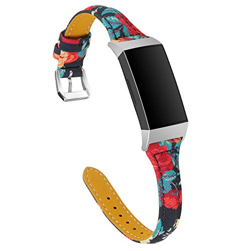 TenCloud Replacement Straps Compatible with Fitbit Charge 4/Charge 3 Strap, Slim Leather Flower Printing Wristband Bracelet Adjustable Band for Charge 4/Charge 3/Charge 3 SE Smartwatch (Red flower)