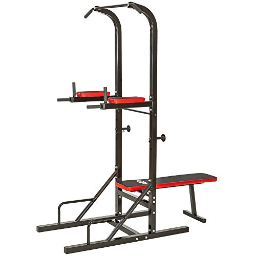 TecTake Dip power tower station with sit up pull chin up push up bar ab builder Dimensions: 180 x 95 x 210 cm