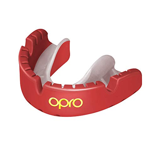 Opro Gold Level Braces Mouthguard for Ball, Stick and Combat Sports - 18 Month Dental Warranty (Red/Pearl)