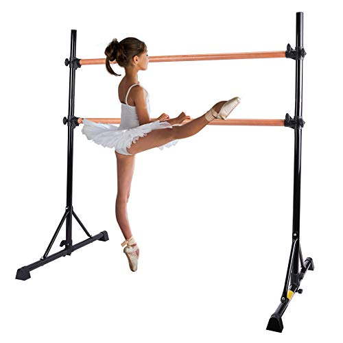 Sfeomi 5FT Ballet Barre Portable for Home Double Ballet Bar for Kids Freestanding Ballet Barre Adjustable Heavy Duty Dancing Stretching Ballet for Home (Black)