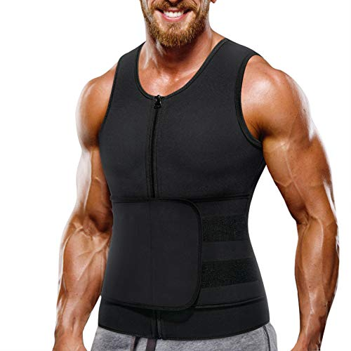 Bingrong Mens Sauna Suit Neoprene Waist Trimmers Belt Slimming Sweat Vest Waist Trainer Vest Zipper Body Shaper with Adjustable Tank Top Exercise Sauna Shaper