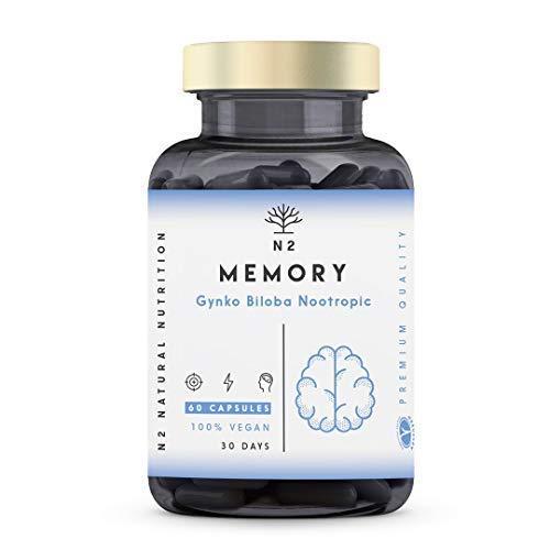Nootropics Cognitive Enhancer Brain Booster. Coffee, Ginko Biloba, Bacopa, Vitamins. Nootropic Supplement for Mental Performance, Focus Better Mood UK Vegan Certified 60 Capsules N2 Natural Nutrition