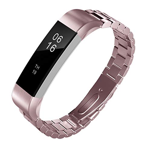 TiMOVO Band Replacement Compatible with Fitbit Alta/Alta HR, Premium Stainless Steel Metal Watch Band Wrist band Strap Accessory Fit Fitbit Alta/Alta HR - Rose Pink