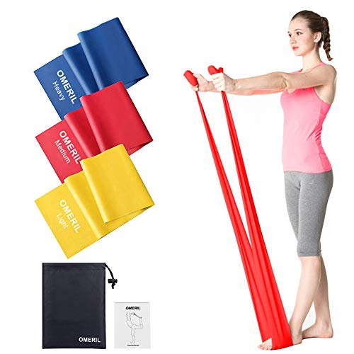 OMERIL Resistance Bands Set, [Set of 3] 1.5M/4.9ft Skin-Friendly Exercise Bands with 3 Resistance Levels,Workout Resistance Bands Set for Women Men,Ideal for Strength Training,Yoga,Pilates,Fitness