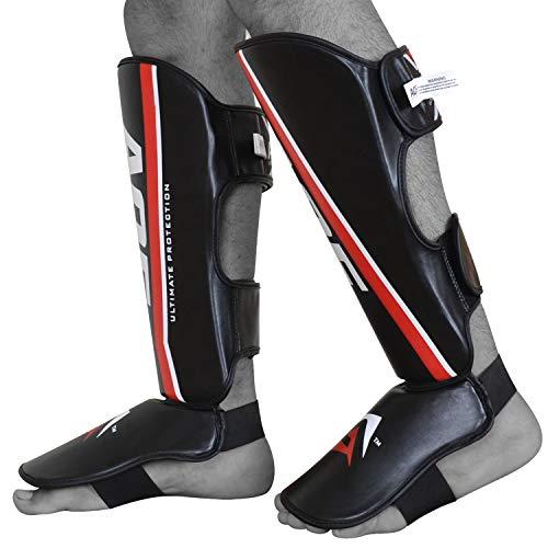 AQF MMA Shin Guards Instep Protective Leg Pads Muay Thai Gear – High Density Foam Padding Kickboxing Training Protection (X-Large)