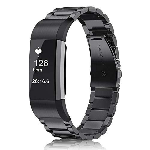 FINTIE Strap Compatible with Fitbit Charge 2 - Quick Release Stainless Steel Metal Replacement Wrist Bands Adjustable Strap, Black