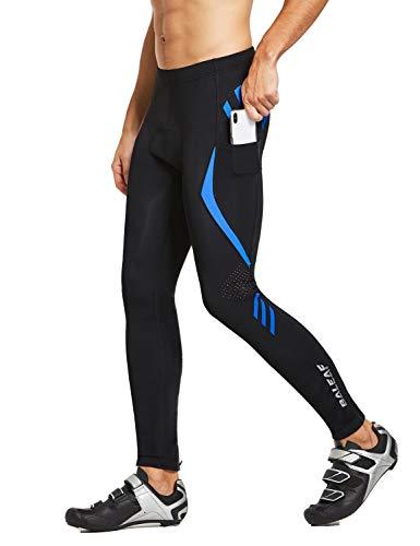 BALEAF Men's Bike Cycling Pants 4D Padded Bicycle Tights MTB Riding Leggings Zipper Pockets Quick Dry Blue M