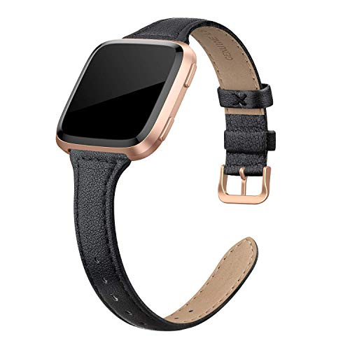 EDIMENS Genuine Leather Strap Compatible with Fitbit Versa 2 / Fitbit Versa Lite & SE/Fitbit Versa, Slim Thin Replacement Leather Strap for Versa Women Men, Black, Champagne, Rose Gold, Tan