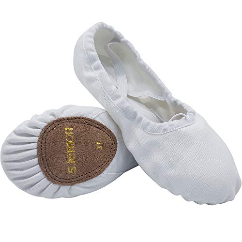 s.lemon Double Layer Canvas Ballet Dance Shoes Slippers from Kids to Adult Size in Pink White Black Red Camel Colors