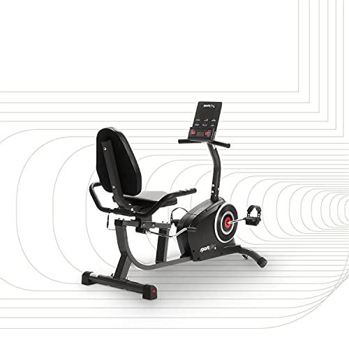 SportPlus Recumbent Bike – App Control (Google Street View) – 24 Resistance Levels – Hand Pulse Sensors – Tablet Holder – Training Computer – Safety Tested – UK 3-pin plug (Type G); SP-RB-9500-iE