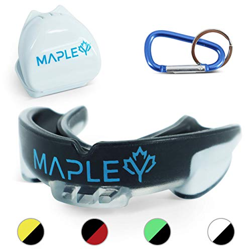 Mapley Mouth Guard Gum Shield - For Boxing, MMA, Hockey, Rugby, Martial Arts, Kickboxing, Lacrosse, Contact Sports - Mouldable Gumshield & Free Carry Case - Adults/Kids +12 (Black)