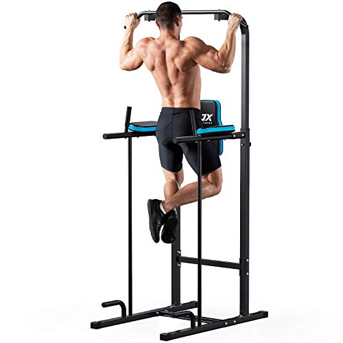 JX FITNESS Power Tower Adjustable Dip Bar Pull up Bar Knee Raise Push Up Workout Abdominal Exercise Home Gym Station Body Building