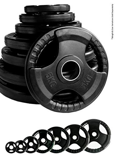 Body Revolution Olympic Weight Plates – Rubber Coated Cast Iron Weights – Tri Grip Radial - Range of Weights & Sizes Sold Separately (1.25kg Pair)