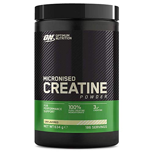Optimum Nutrition Micronised Creatine Powder, Creatine Monohydrate Powder for Performance, Unflavoured, 186 Servings, 634 g, Packaging May Vary