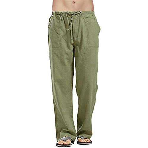 Rera Mens Casual Linen Trousers Lightweight Elasticated Waist Pants Breathable Yoga Gym Summer Pants