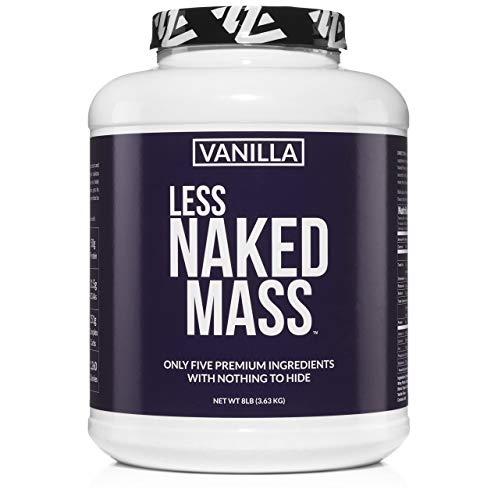 Naked Mass - All Natural Weight Gainer Protein Powder - 8lb Bulk, GMO Free, Gluten Free & Soy Free. No Artificial Ingredients - 1,260 Calories - 11 Servings (Vanilla)
