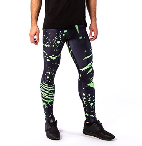 Kapow Men's Leggings - Compression Tights Yoga Base Layer Lightweight Spandex Colourful Printed Festival Meggings Lounge Pants