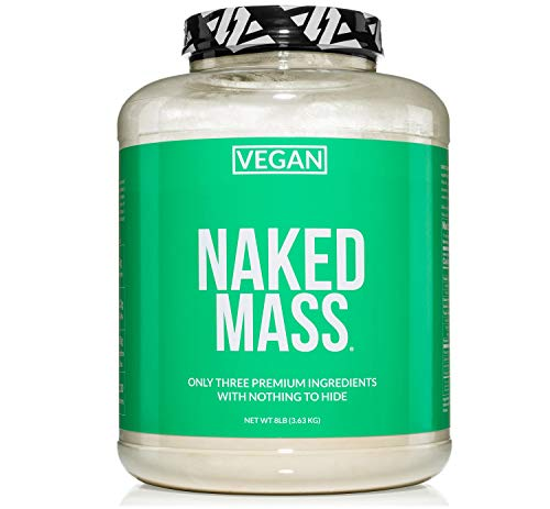 Naked Vegan Mass – Natural Vegan Weight Gainer Protein Powder – 8lb Bulk, GMO Free, Gluten Free, Soy Free & Dairy Free. No Artificial Ingredients – 1,230 Calories – 11 Servings