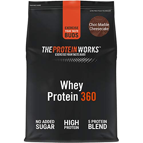 THE PROTEIN WORKS Whey Protein 360 Powder | High Protein Shake | No Added Sugar and Low Fat | Protein Blend | Choc Marble Cheesecake | 1.2 kg