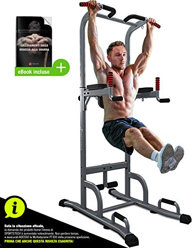 Sportstech 7in1 Power Tower PT300 is a Dip Station, Bending on the Arms, Multifunctional Home Machine with Pull Up Bar, 4 Eyelets for TRX, Strings and Harness, Sit-up