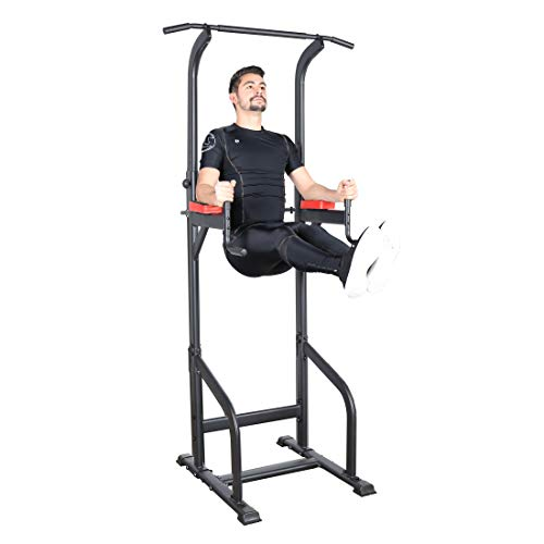Ultrasport Power Tower, Multifunctional Weight Station for A Varied Home Workout, Power Tower and Gym Tower, Dip Station, Pull-Up Bar, Push-Up Grips, Full Body Workout, Adjustable in Size, Black